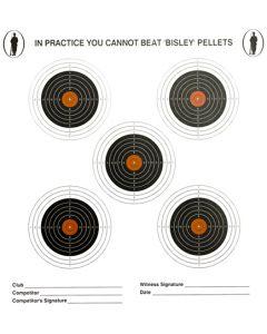 Bisley x5 Coloured Targets Grade 2 (Pack of 100)