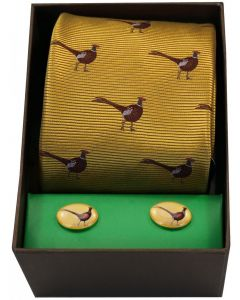 Soprano Woven Silk Standing Pheasant Gold Tie with Cufflinks Set
