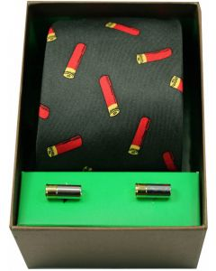 Soprano Woven Silk Shotgun Cartridges Green Tie With Cufflinks Set