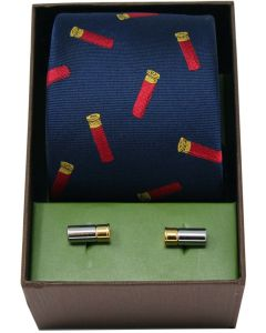 Soprano Woven Silk Shotgun Cartridges Blue Tie With Cufflinks Set