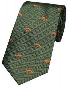 Soprano Woven Silk Green Tie Standing Foxes