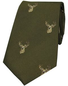 Soprano Country Green Woven Silk Tie Stags Head