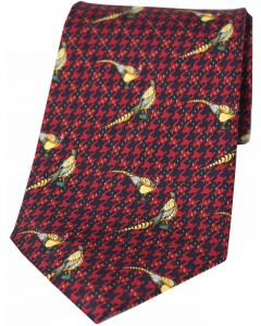 Soprano Printed Silk Pheasant On Wine Tweed