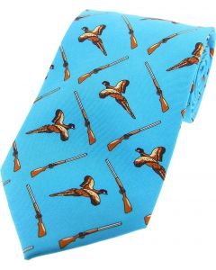 Soprano Printed Silk Flying Pheasant & Shotgun Blue