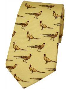Soprano Printed Silk Tie Standing Pheasant Yellow