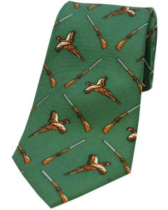 Soprano Printed Silk Tie Flying Pheasants & Shotgun Green