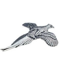 Gliding Pheasant Pewter Brooch