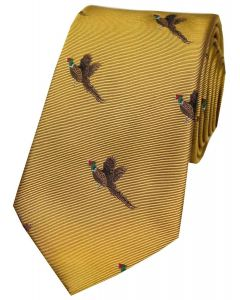 Soprano Woven Silk Gold Tie Flying Pheasants