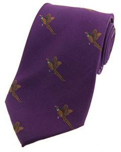 Soprano Purple Woven Silk Tie Flying Pheasants