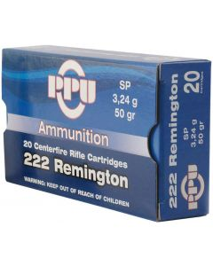 PPU .222 Soft Point 50gr (20 Rounds)