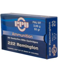 PPU .222 FMJ Boat Tail 55gr (20 Rounds)