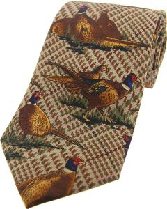 Soprano Printed Silk Pheasant Scene On Tweed