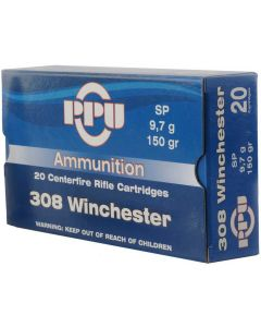 PPU .308 Winchester 150gr Soft Point (20 Rounds)