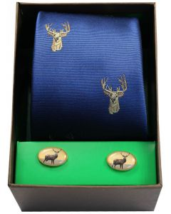 Soprano Woven Silk Blue Stags Head Tie & Standing Stag Cufflinks Gift Box