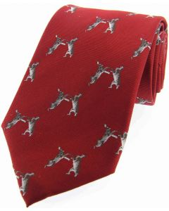Soprano Woven Silk Red Tie Boxing Hares