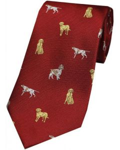 Soprano Woven Silk Red Tie Spaniels Pointers & Labradors