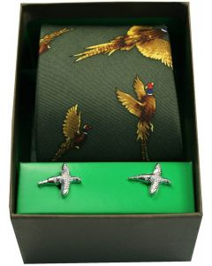 Soprano Printed Silk Flying Pheasants Green Tie With Cufflinks Set