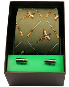 Soprano Printed Silk Flying Pheasants & Shotguns Green Tie With Cufflinks Set