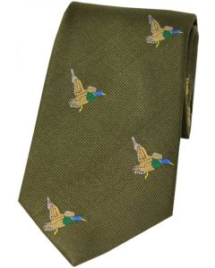 Soprano Green Woven Silk Tie Flying Ducks