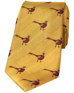 Soprano Woven Silk Tie Standing Pheasants Gold