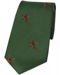 Soprano Woven Silk Green Tie Flying Pheasants