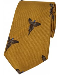 Soprano Gold Woven Silk Tie Flying Pheasants